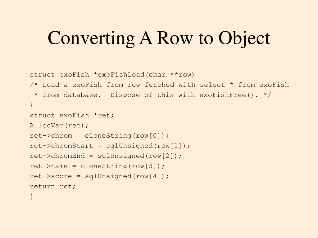 Converting A Row to Object