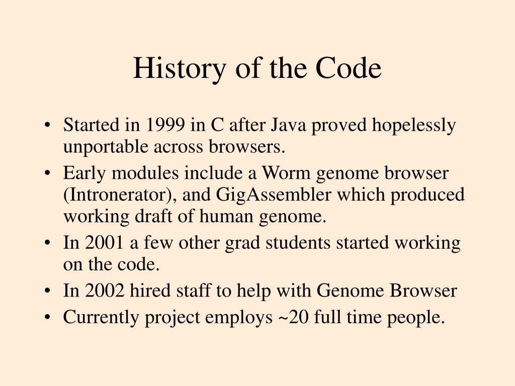 History of the Code