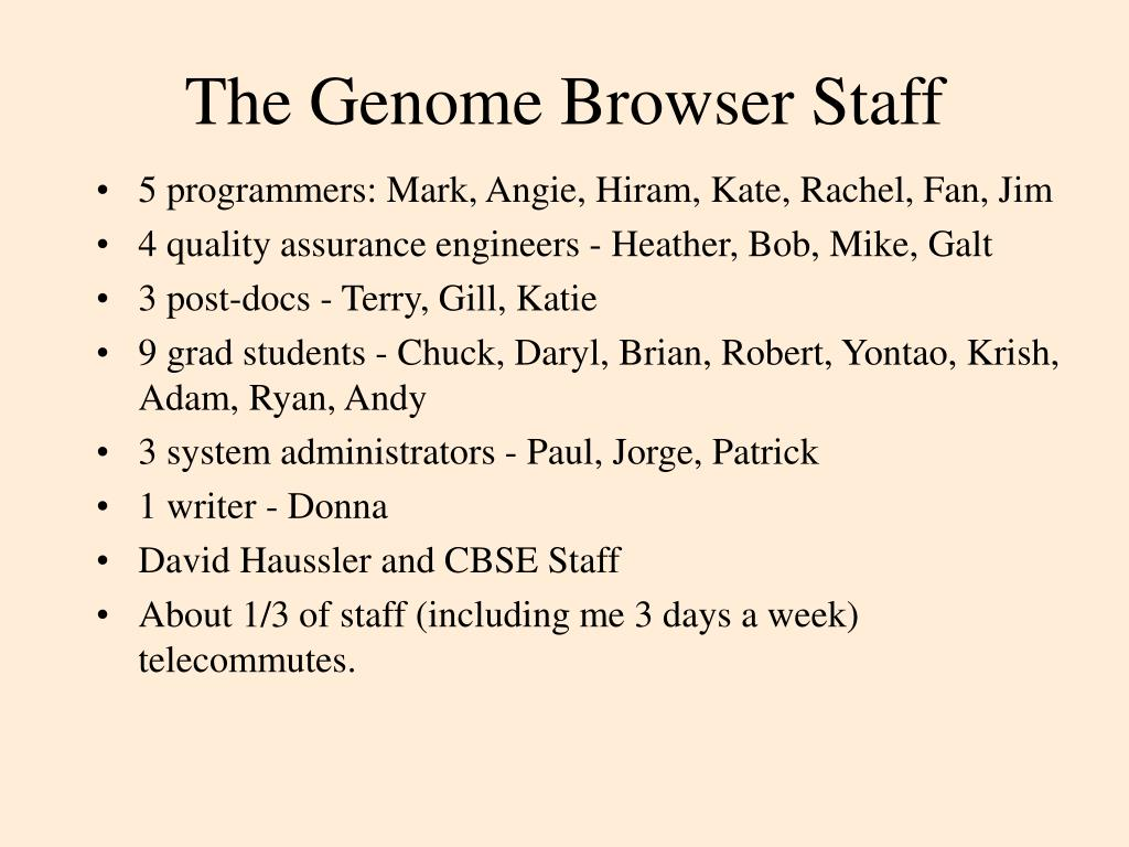 The Genome Browser Staff