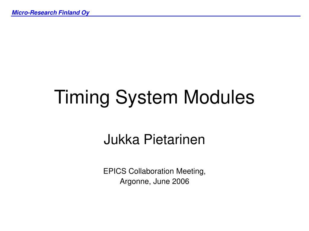 timing system modules l.