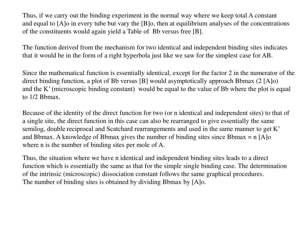 Thus, if we carry out the binding experiment in the normal way where we keep total A constant