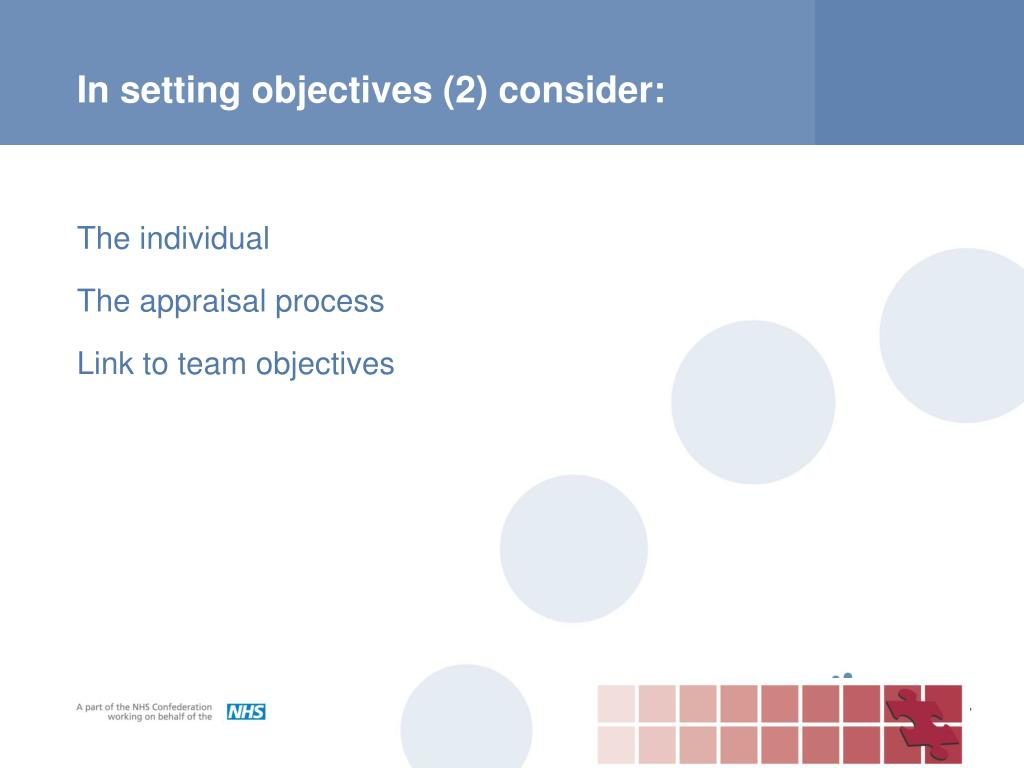In setting objectives (2) consider: