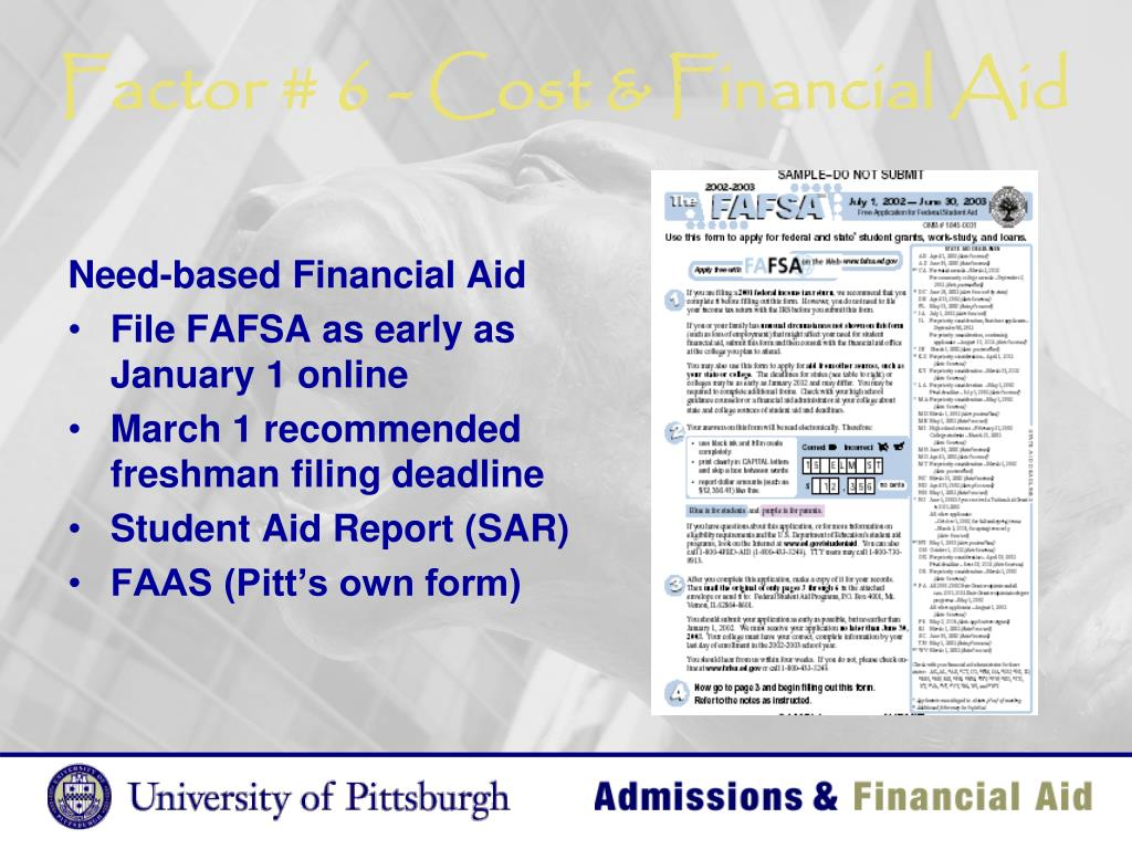 Factor # 6 - Cost & Financial Aid