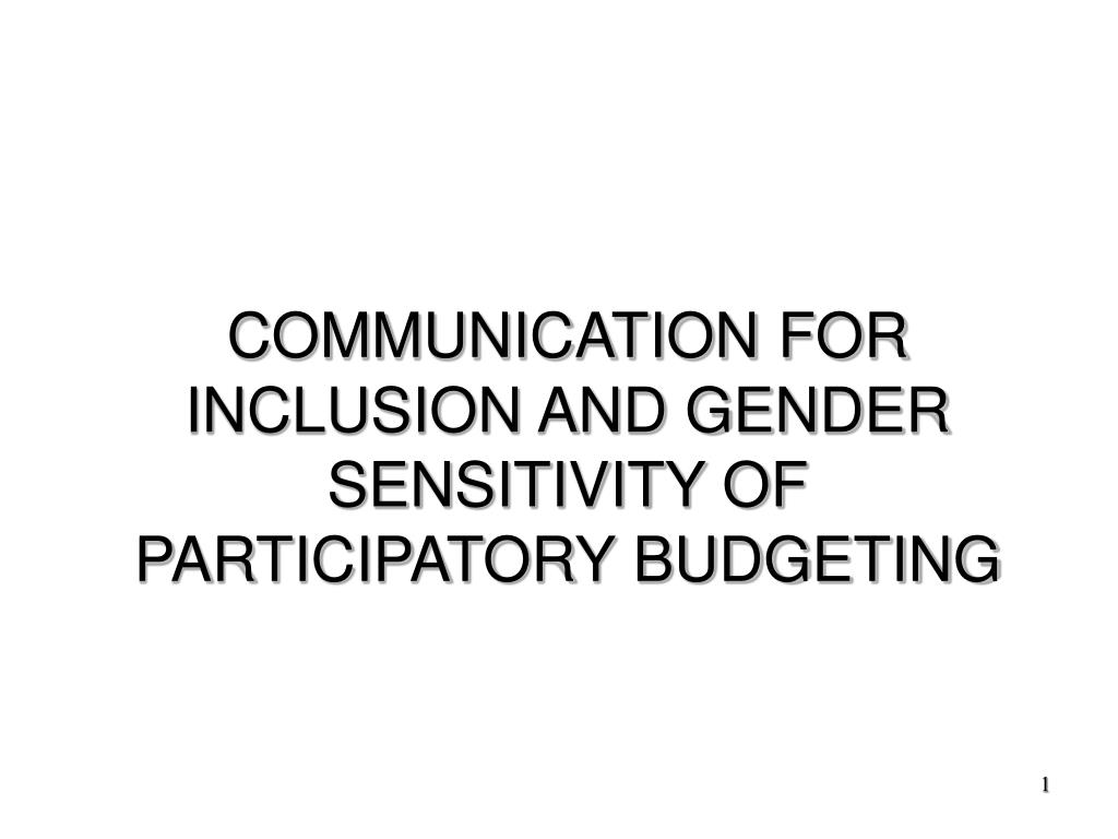 communication for inclusion and gender sensitivity of participatory budgeting l.