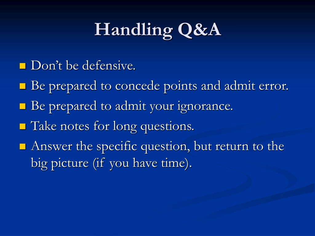 Handling Q&A