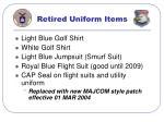 retired uniform items