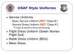 usaf style uniforms
