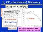 h c 1 p 1 charmonium discovery