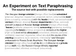 an experiment on text paraphrasing the source text with possible replacements