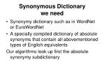 synonymous dictionary we need