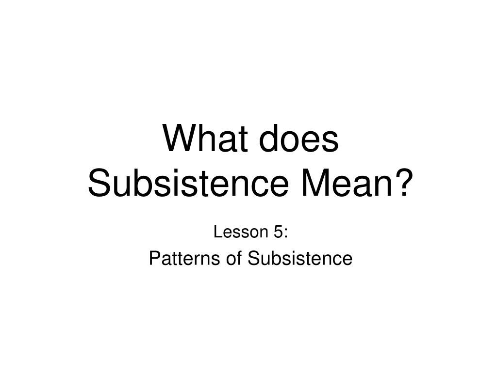 What does Subsistence Mean?