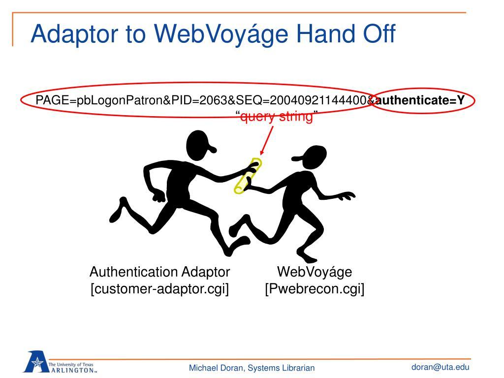 Adaptor to WebVoyáge Hand Off