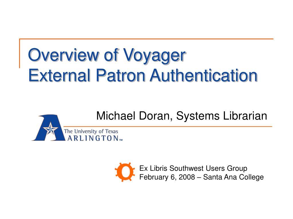 overview of voyager external patron authentication l.