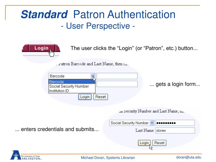 Standard patron authentication user perspective