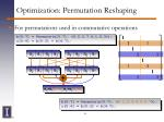 optimization permutation reshaping