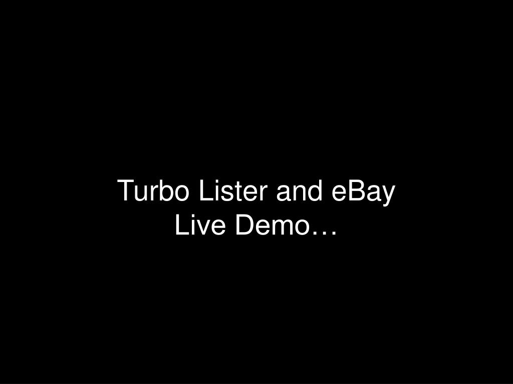 Turbo Lister and eBay