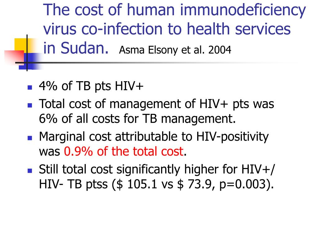 The cost of human immunodeficiency virus co-infection to health services in Sudan.