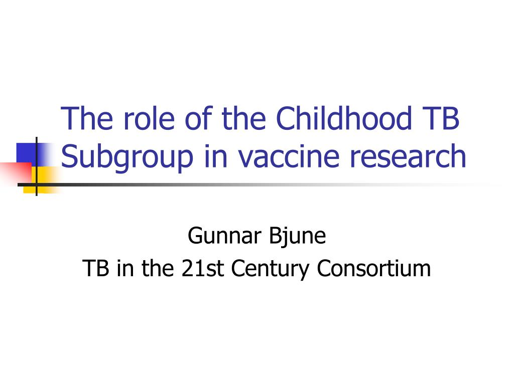 the role of the childhood tb subgroup in vaccine research l.