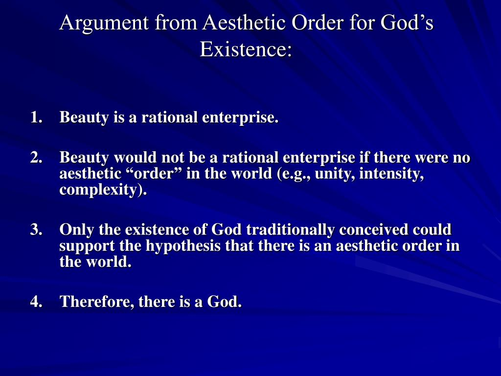 Argument from Aesthetic Order for God's Existence: