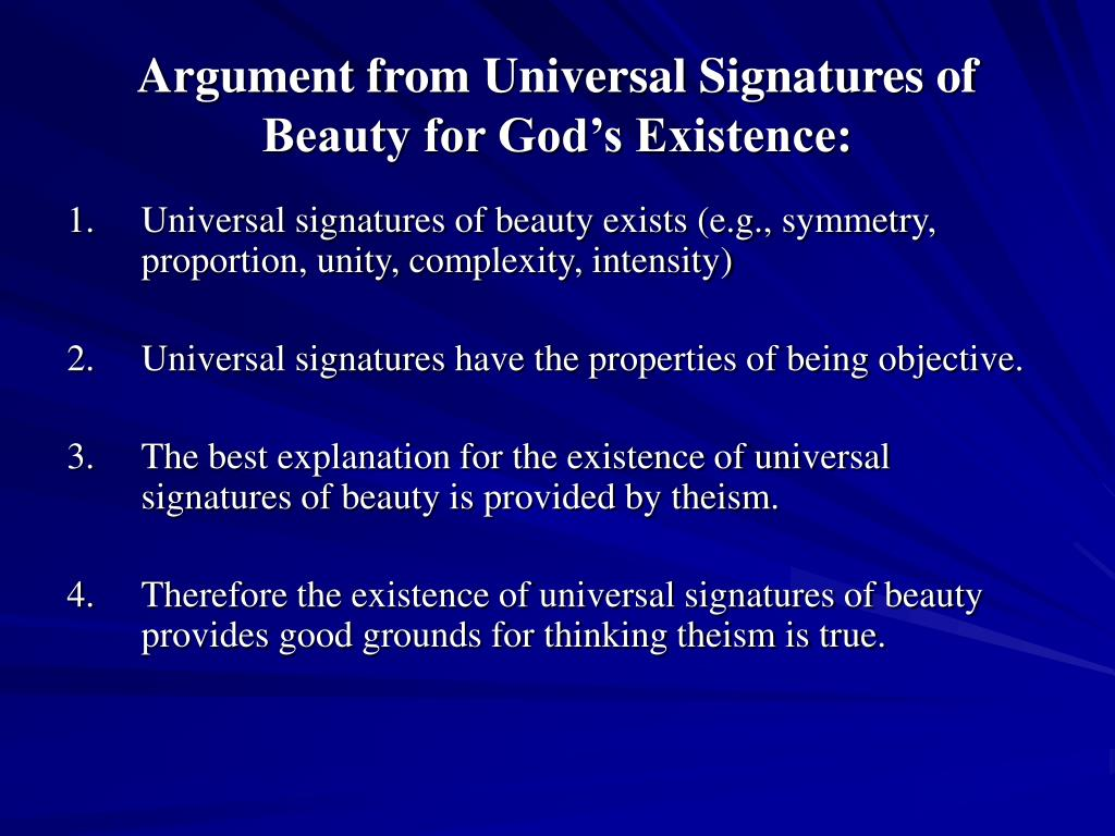 Argument from Universal Signatures of Beauty for God's Existence: