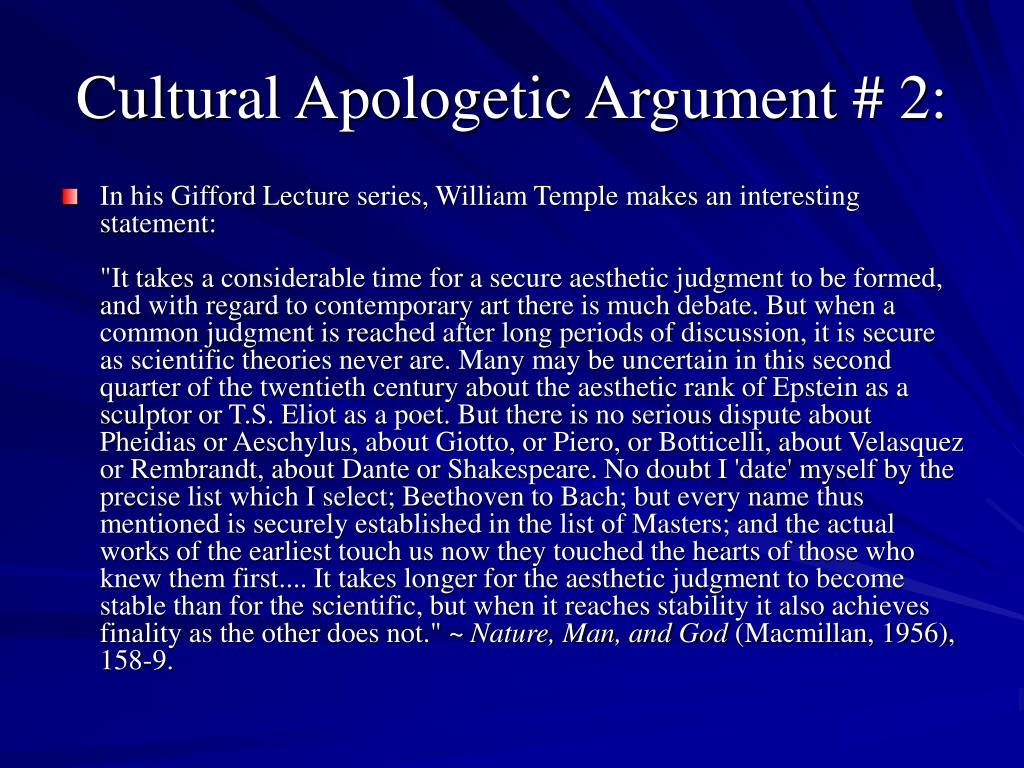 Cultural Apologetic Argument # 2: