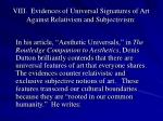 viii evidences of universal signatures of art against relativism and subjectivism