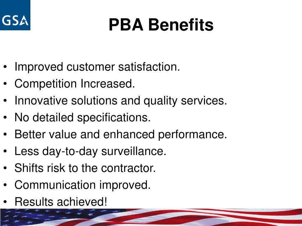 PBA Benefits