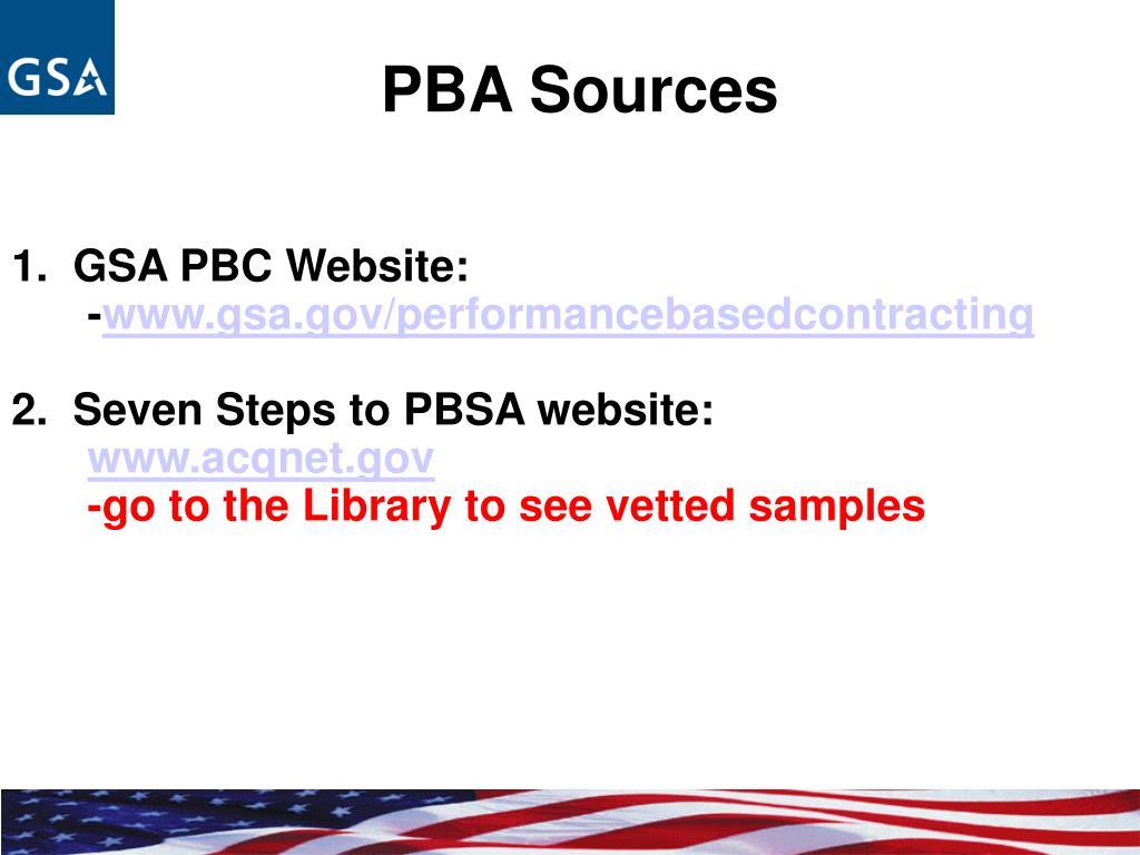 PBA Sources