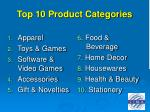 top 10 product categories