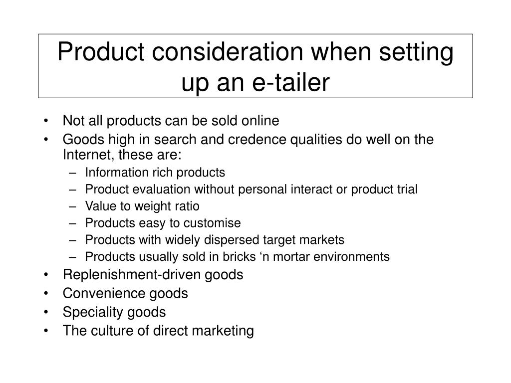 Product consideration when setting up an e-tailer