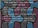 free from want free from need free from fear