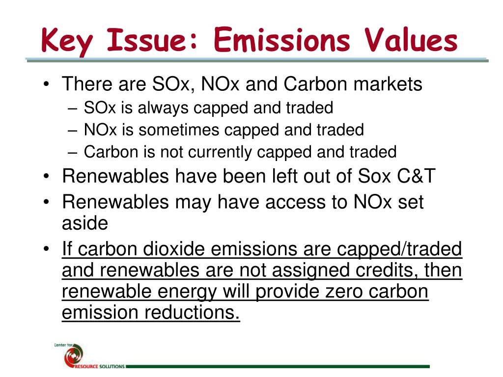 Key Issue: Emissions Values