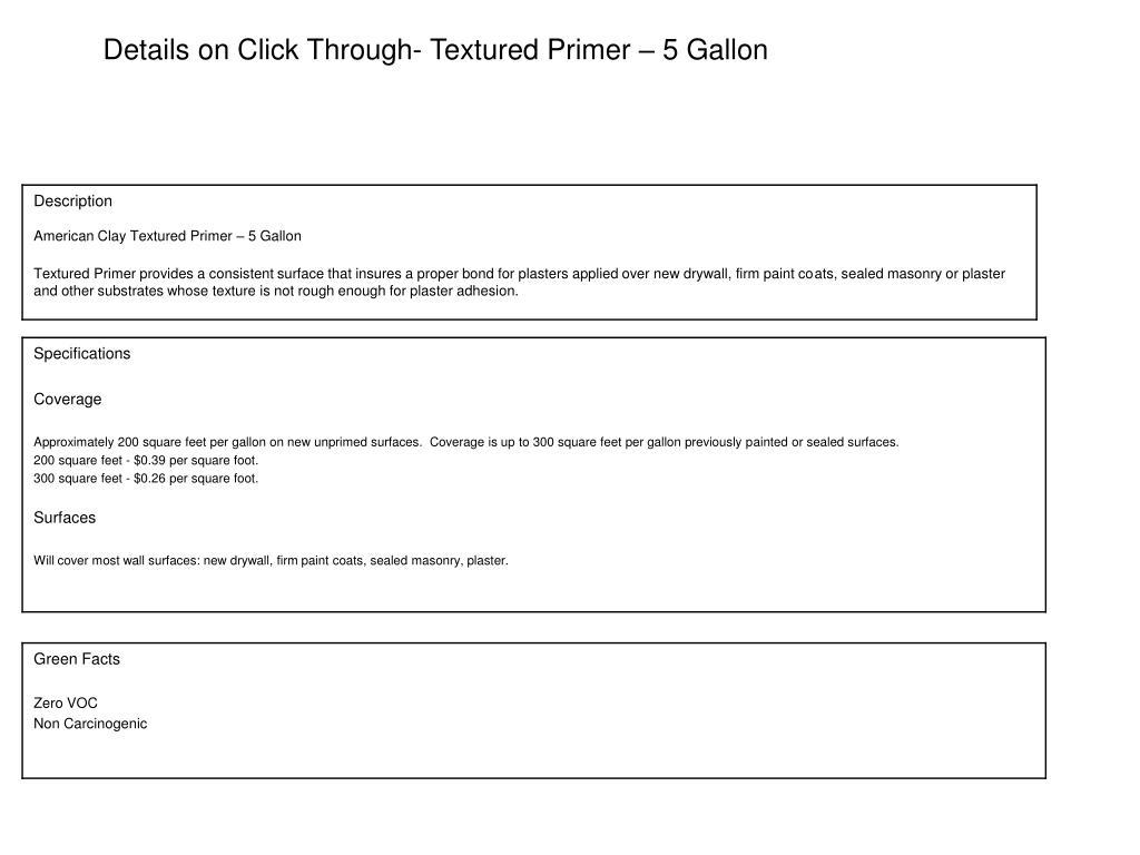 Details on Click Through- Textured Primer – 5 Gallon