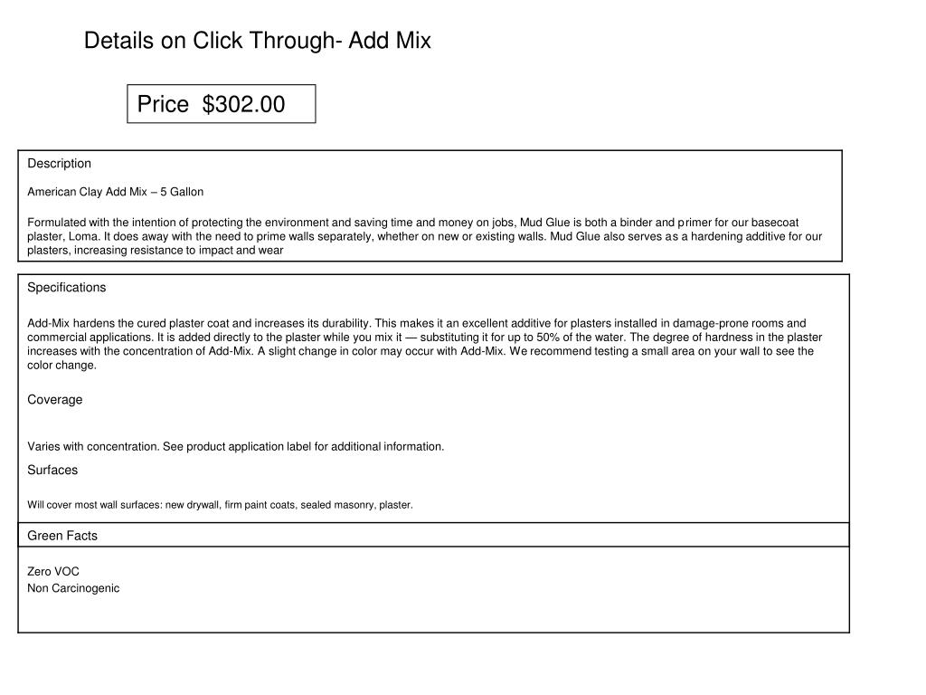 Details on Click Through- Add Mix