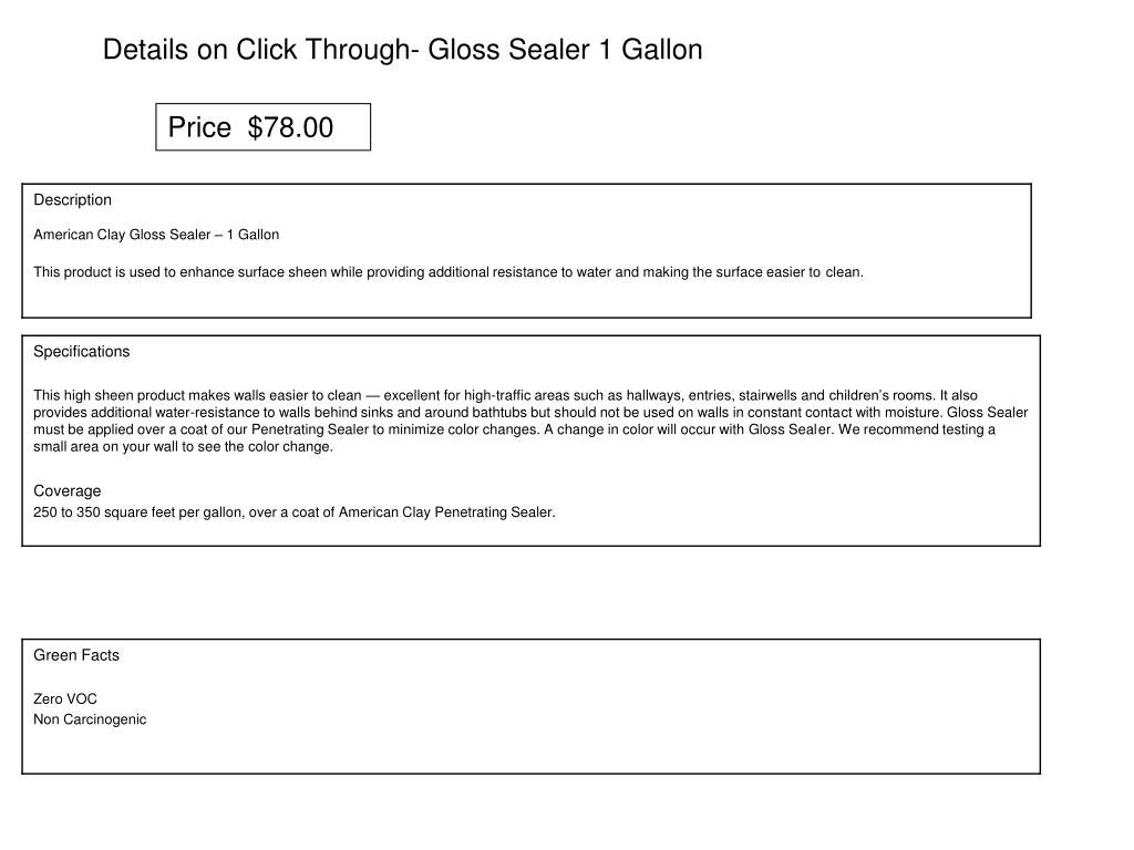 Details on Click Through- Gloss Sealer 1 Gallon