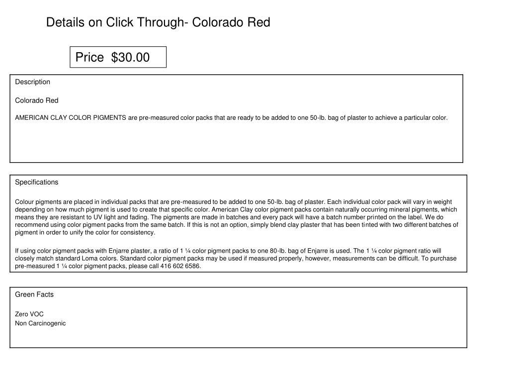 Details on Click Through- Colorado Red