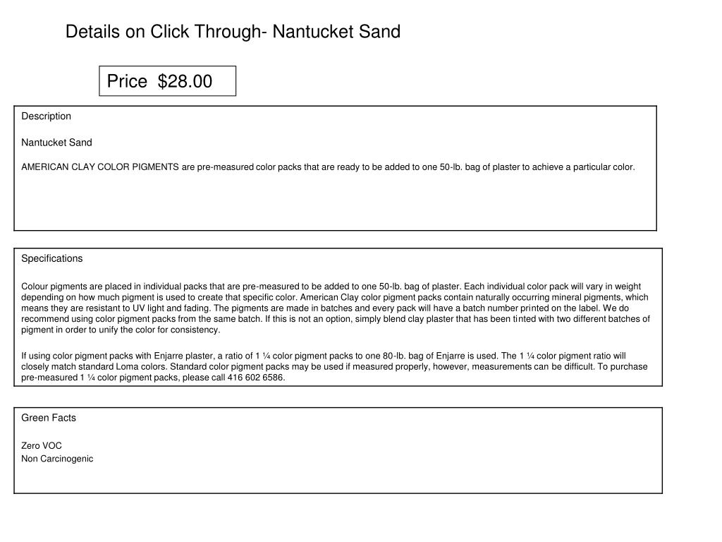 Details on Click Through- Nantucket Sand
