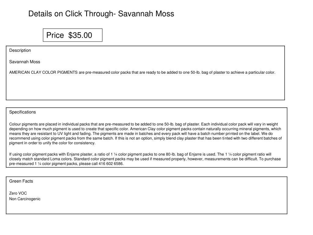 Details on Click Through- Savannah Moss