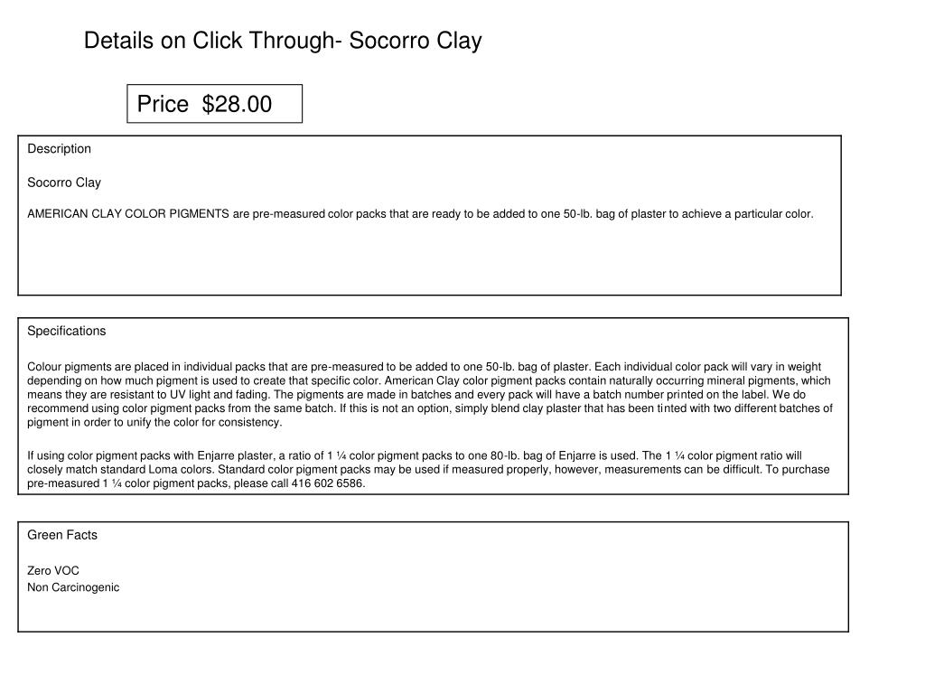 Details on Click Through- Socorro Clay