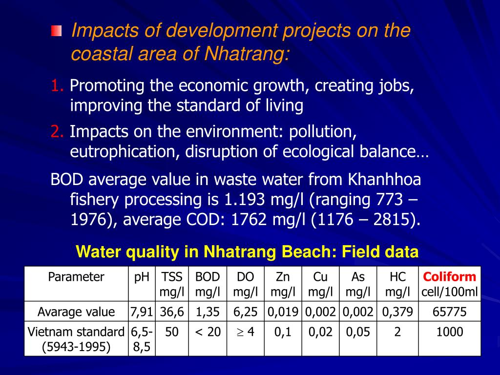 Impacts of development projects on the coastal area of Nhatrang: