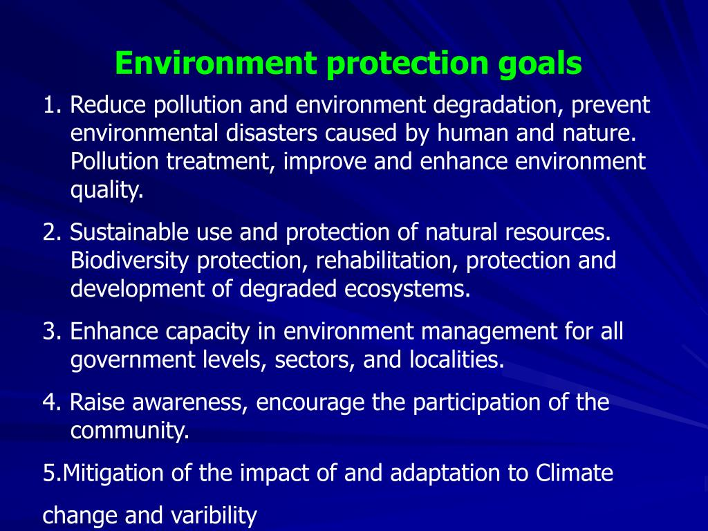 Environment protection goals