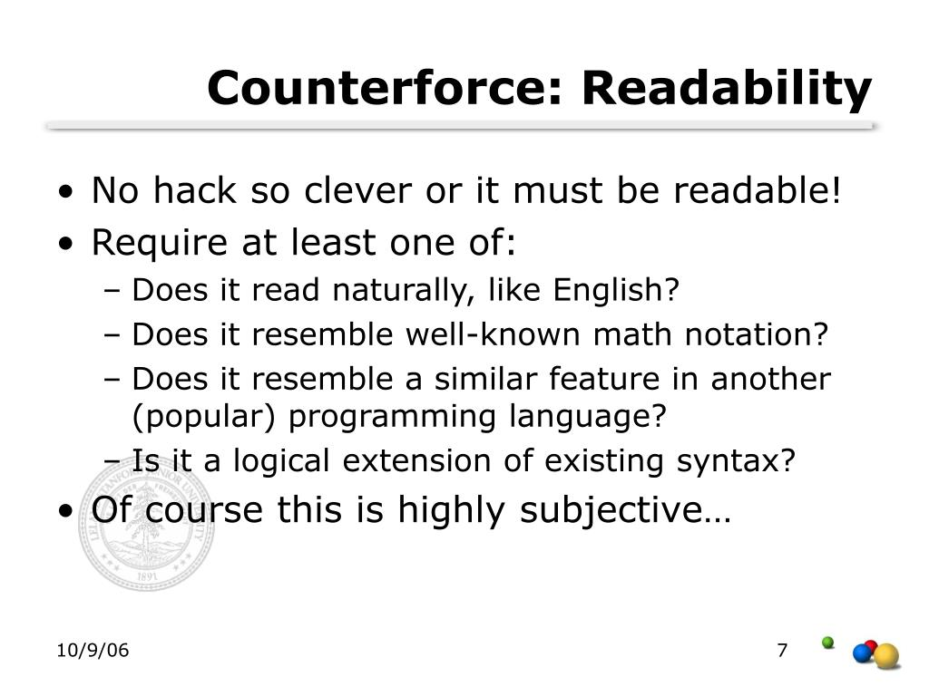 Counterforce: Readability