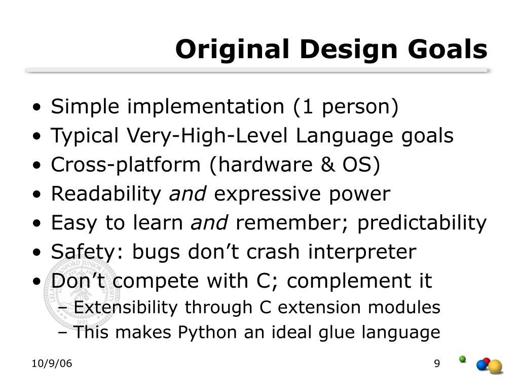 Original Design Goals