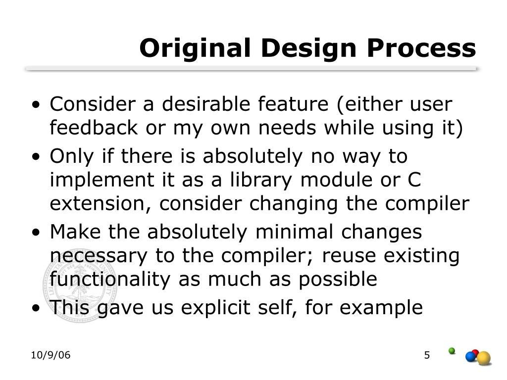 Original Design Process