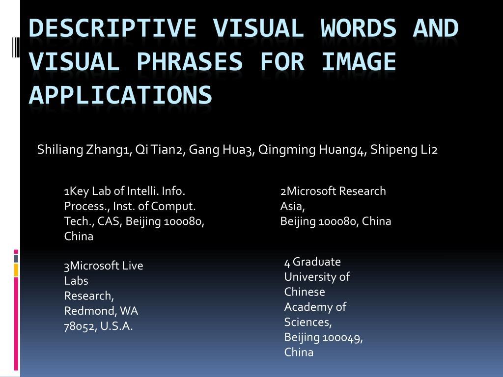 shiliang zhang1 qi tian2 gang hua3 qingming huang4 shipeng li2 l.