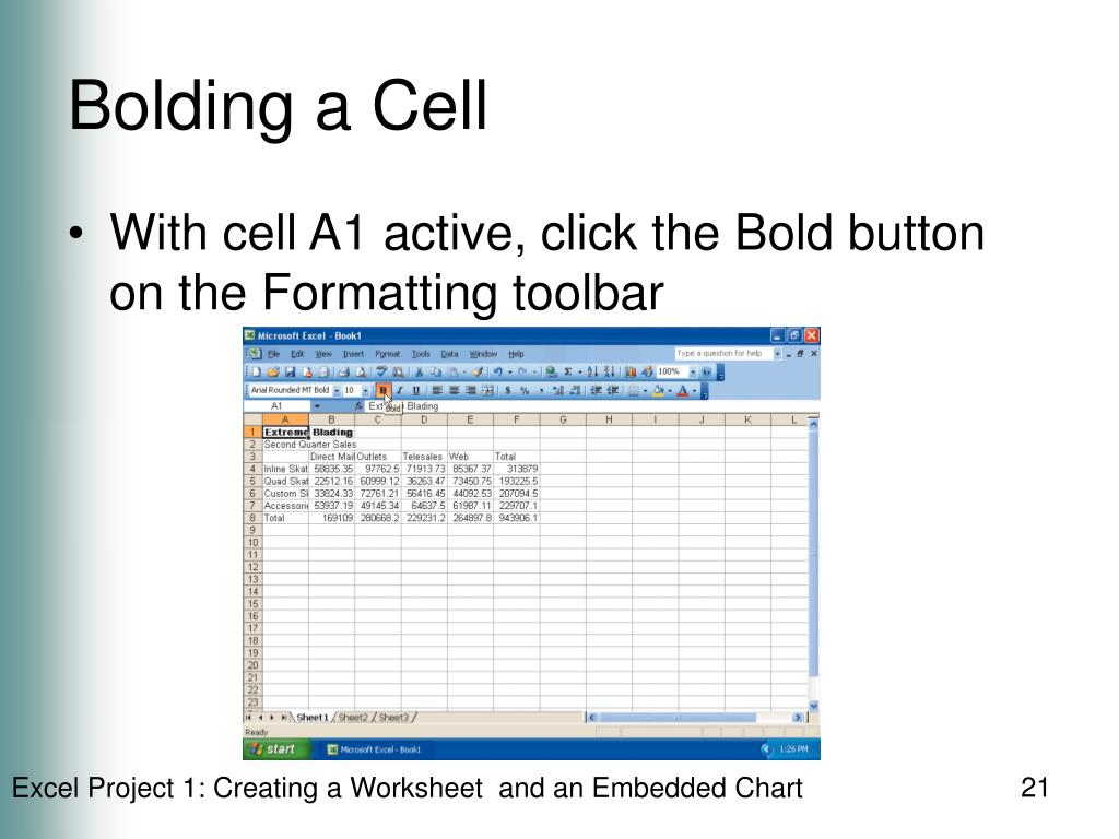 Bolding a Cell