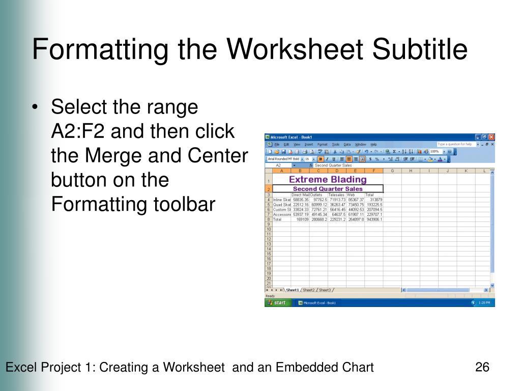 Formatting the Worksheet Subtitle