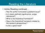 reading the literature11
