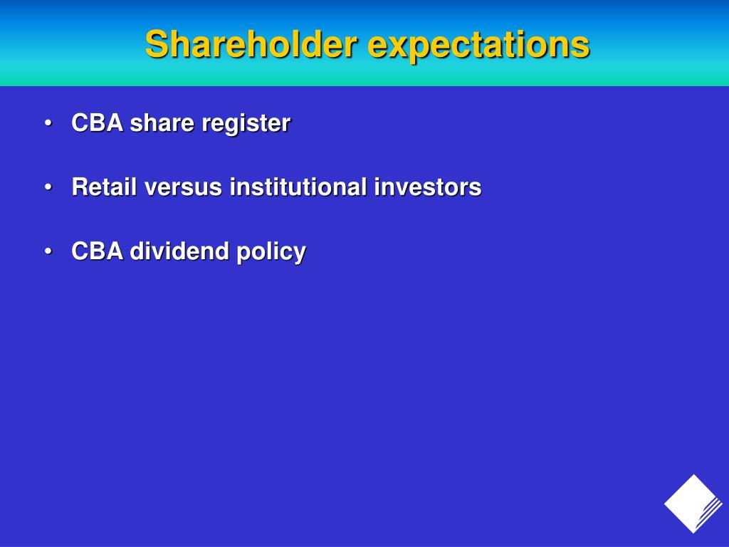 Shareholder expectations