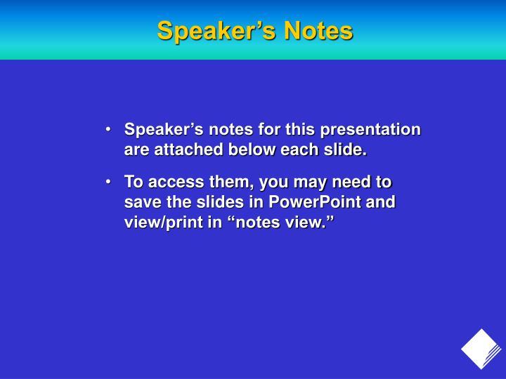 Speaker s notes